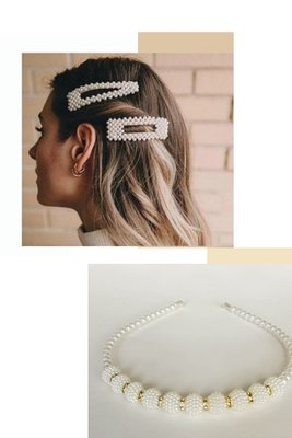 Incluye:  Vincha de perlas con strass plateado 1 Gancho triangular o 1 gancho rectandular. Se debe escoger 1.