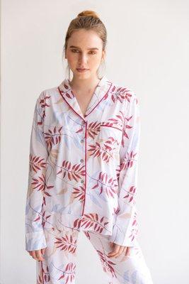 Pijama de algodón.  2 piezas pantalon y camisero manga larga PLANTAS.