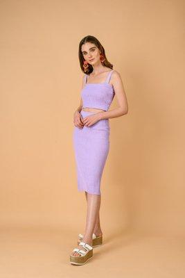 Falda con abertura, tejida con hilo algodón. Color: Lila Talla Stándar