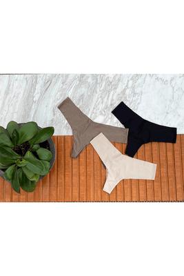 Packde calzones sin costuras de microfibra color entero modelo Murano.  Elige tus colores de calzones sin costuras. Tienes la opción de Negro, Nudeo Topo. (Disponibilidad de stock)