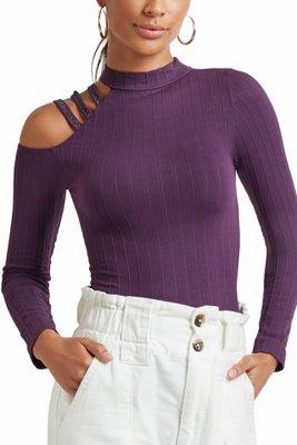 Camiseta Manga Larga, Modelo asimétrico, Cuello alto, Textura Acanalada, Tiras lúrex en hombro