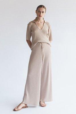 Pantalon tejido en hilo tipo palazo  Amarre a la cintura