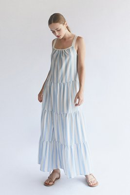 Vestido maxi de tiempos  Tela estampada de rayas  Escote redondo  Manga cero  Tiras regulables
