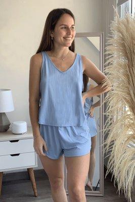 Pijama de algodón rib de dos piezas.