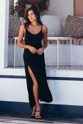 vestido de lino strech largo con aberturas a los costados con tiras adelante y espalda