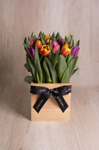Cubo de madera + 30 Tulipanes.  Medida base: 20cm x 20cm.*Tulipanespodríanpresentar uncolor verdoso los primeros diascomo signo de frescura. Utilizamos botonesrecien cortados para disfrutarel maximo tiempo de vida de estas preciosasflores.