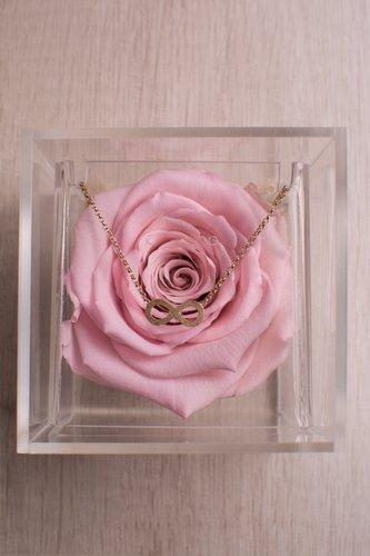 Caja transparente + Rosa preservada + Pulsera de plata bañado en oro 18K. Medidas: 10cm x 10cm