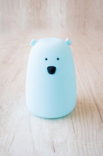Lámpara recargable (usb) en forma de oso celeste.  Medidas aprox: 16cm x 12cm
