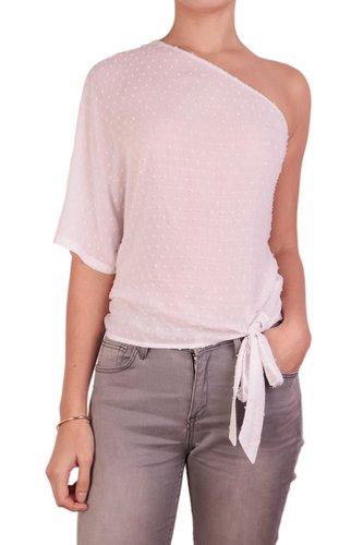 Blusa de una manga con amarrado delantero.