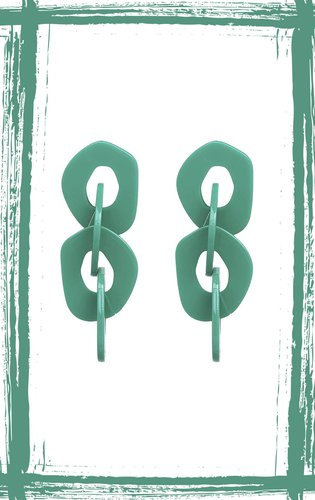 Aretes de acrílicos en forma de eslabón. Alto: 6.9 cm, ancho: 2.6 cm, peso: 11 gr.