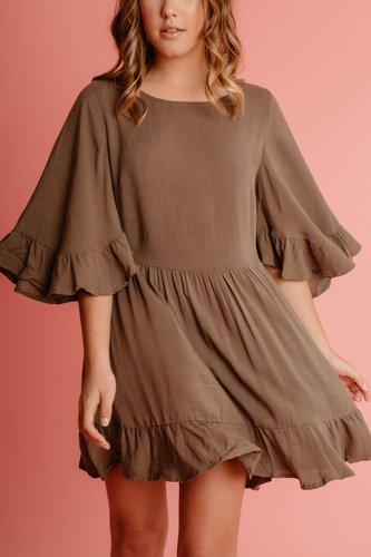 Vestido de algodón con abertura en la espalda Disponible en negro, palo rosa, marrón