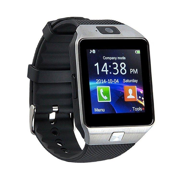 Smartwatch Sefton DZ09 Bluetooth Pantalla de 1.56 pulgadas TFT HD LCD Peso: 50 gramos Memoria interna de 128 Mb expandible hasta 32 Gb con micro SD Cámara de 1.3 Mpx, SOLO toma FOTOS, NO Video Batería de 380 mah de larga duración Sincronización vía bluetooth Hacer y contestar llamadas llamadas GSM 850-900-1800-1900 Opción de colocar Sim para usarlo como telefono movil