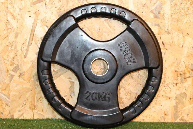 Disco de caucho para barra olimpica con 3 huecos de agarre y anillo de acero de 50mm  El Peso es de 20Kg.  Precio Incluye 1 unidad