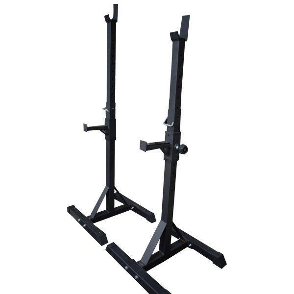 Los soportes para sentadilla Wod Pro son totalmente ajustables para adaptarse a la altura de cualquier persona.  La base del cuadro H proporciona estabilidad y sus tapas de goma te brindan protección.  Poste Medidas:  Alto: 99.5 cm hasta 165 cm  Ancho: 4.5 x 4.5 x 4.5 x 4.5 cm  Base Poste: 50 x 57 cm  Jcup: 7 x 4 cm