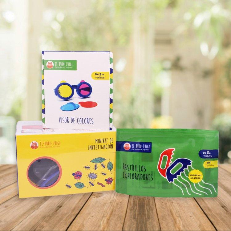 DE 3 AÑOS A MÁS  Este pack permite que los niñ@s exploren y experimenten diversas sensaciones permitiéndoles descubrir el mundo que los rodea.  Incluye:  - Rastrillos exploradores  - Visor de colores  - Minikit de investigación
