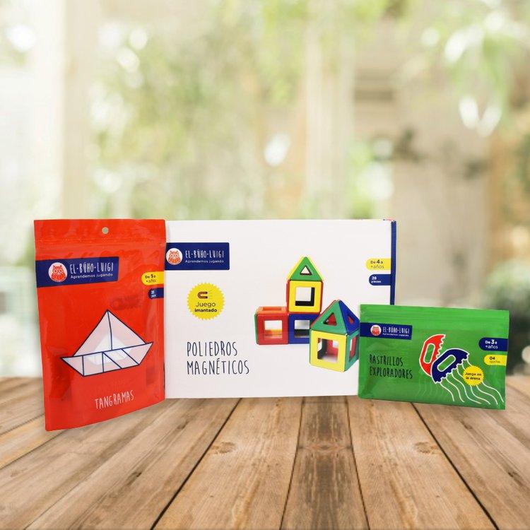 DE 3 AÑOS A MÁS  Este pack promueve en tu niñ@ la imaginación, creatividad e investigación favoreciendo su desarrollo integral.  Incluye:  - Poliedros magnéticos (28 piezas)  - Rastrillos exploradores  - Tangramas (7 piezas)