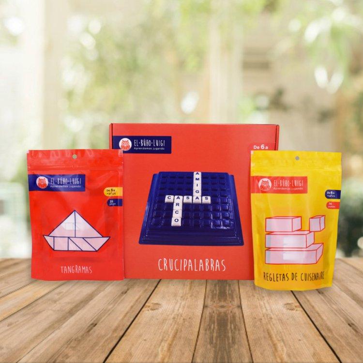 DE 5 AÑOS A MÁS  Este pack ayuda a tu niñ@ en el proceso de enseñanza y aprendizaje, motivando en ellos el interés por aprender  Incluye:  - Regletas de cuisenaire (74piezas)  - Crucipalabras  - Tangramas (35 piezas)