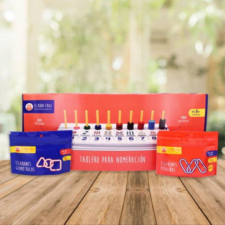 DE 4AÑOS A MÁS  Este pack desarrolla en tu niñ@ sus destrezas como el razonamiento y pensamiento lógico.  Incluye:  - Tablero para numeración  - Eslabones geométricos (18 piezas)  - Eslabones pequeños (40 piezas)