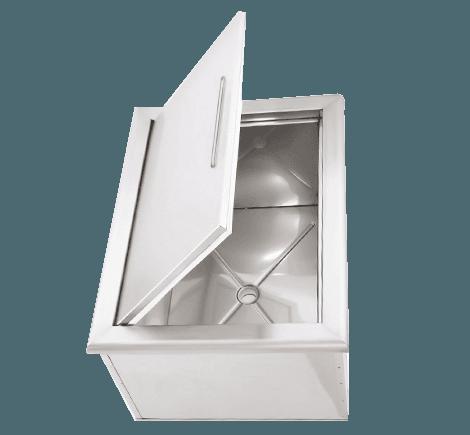 -Acero inoxidable 304  -Añade espacio de almacenamiento con aislamiento.  -Contenedor de hielo, mantiene bebidas frescas.  -Drenaje para facilitar la limpieza.  -Armadura de construcción, añade resistencia.