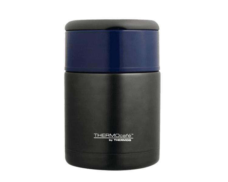 Características   Capacidad: 800ML.   Material: Interior y exterior de acero inoxidable. Acero con tapa azul.   Con asa rebatible.   Ideal para la lonchera.   Conserva caliente (8 horas) y frío (24 horas)