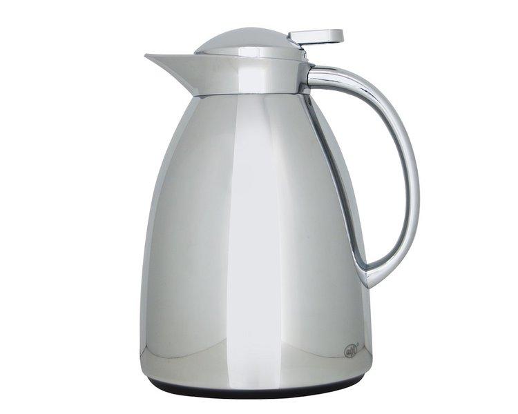 CARACTERÍSTICAS:   Elegante jarra con ampolla de vidrio   Capacidad: 1 litro - 8 tazas   Conserva 12 horas caliente y 24 horas frío   Diseño delicado     Práctico manejo, para servir con una sola mano  No conserva olores