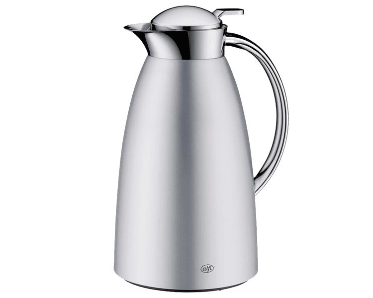 CARACTERÍSTICAS:   Elegante jarra con ampolla de vidrio   Diseño delicado     Práctico manejo, para servir con una sola mano   Capacidad: 1 litro - 8 tazas, 1.5 litros - 12 tazas   Conserva 12 horas caliente y 24 horas frío  No conserva olores