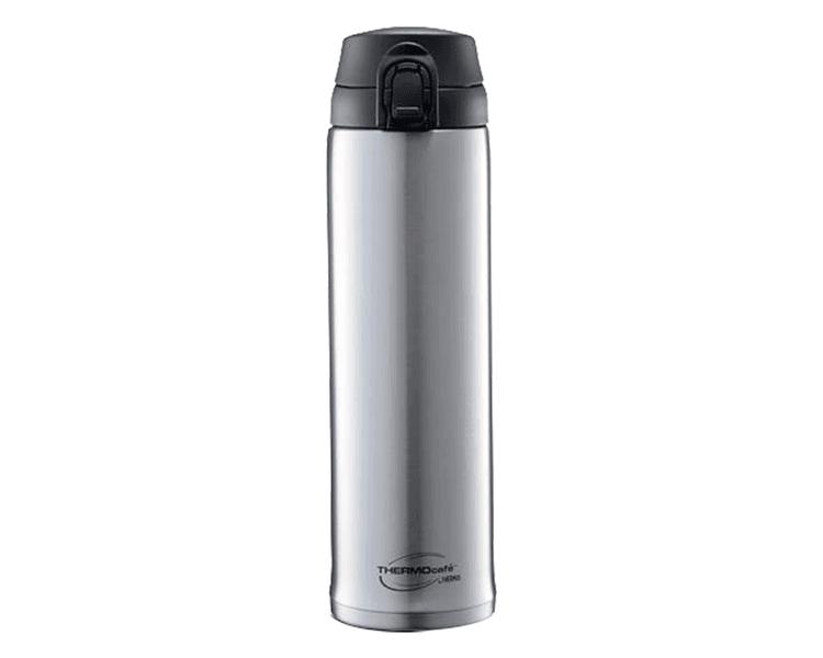 """CARACTERÍSTICAS:   Mantiene la temperatura ideal de los líquidos.   Material: Acero inoxidable.   Botón """"Presiona y toma"""".   Sistema anti derrame.   Conserva líquidos fríos."""