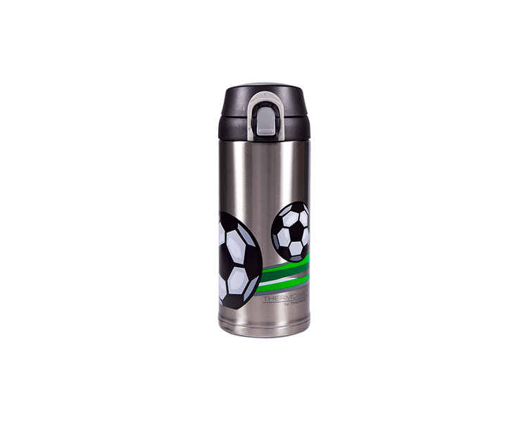 Características:   Capacidad: 350ML.   Material: Interior y exterior de acero inoxidable. Mantiene la temperatura ideal.   Ideal para la lonchera.   Modernos diseños   Diseño con pico   Conserva líquidos fríos (12 Horas)   No recomendable en bebidas calientes.