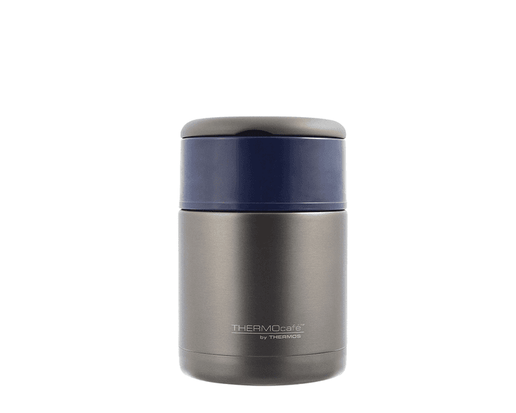 Características:  Capacidad: 800ml. Material: interior y exterior de acero inoxidable. acero con tapa azul. Con asa rebatible. Ideal para la lonchera. Conserva caliente (8 horas) y frío (24 horas) Medida: 16.5cm alt x 11.3 cm diámetro