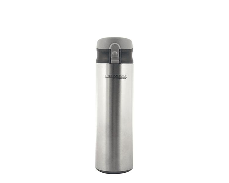 """CARACTERÍSTICAS:    Capacidad: 450ml (amico). Colores: gris (amico). Material: interior de acero inoxidable. Mantiene la temperatura ideal. Botón """"presiona y toma"""". Ideal para la lonchera. Sistema anti derrame. Conserva líquidos fríos. No retiene olores"""