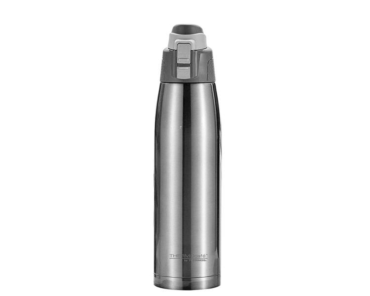 Características:  Capacidad: 1L. Colores: Único. Material: Interior y exterior de acero inoxidable. Sistema antiderrame. Conserva líquidos fríos (12 Horas).