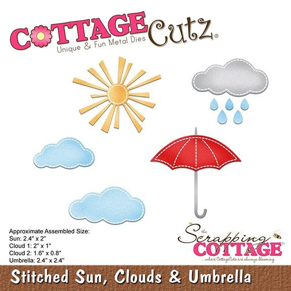 """Troquel """"Stitched Sun,Clouds And Umbrella""""  Troquel de diseño exclusivo de Cottage Cutz, de excelente aleaciónque garantiza su durabilidad, buen corte, perfecto embossado y libre de corrosión. Es compatible con todas las marcas conocidas de roqueladoras como: WeR, Sizzix ,Ellison , CuttleBug, SpellBinders entre otras.  Corta papel, cartulina , foami, tela ,paño lenci, láminas de aluminio.  Equipo Scrapyart  Corta papel, cartulina ypaño lenci"""