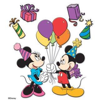 Contiene estas pegatinas # 6: en primer lugar, Mickey con sombrero de fiesta con globos.En segundo lugar, Minnie con sombrero de fiesta.Además, favor de fiesta.Además, sombrero de fiesta.Además, paquete de regalo.Finalmente, bolso de fiesta morado.