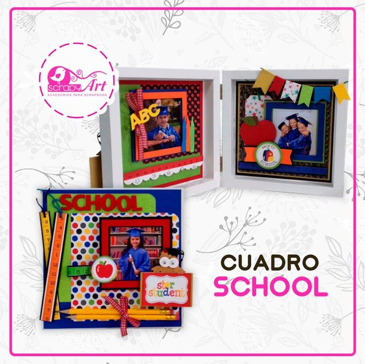 Proyecto de Scrapbooking Cuadro Schcool hazlo tu mismo, incluyemateriales yvideo para que lo realices en la comodidiad de su hogar.  Kit listo para envio. (incluye todos los materiales a usar para su elaboracion)  Video disponible: 8/06. (Leenseñamos el Paso a Paso con nuesraProf: Lucy Garcia Chavez).  Prof: Lucy Garcia Chavez.  Dimensión: 20x20cm.  Capacidad: 3 Fotos  Consulta: 939797494.