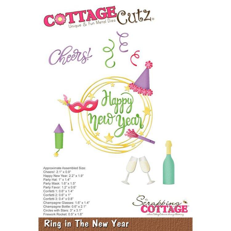 """Troquel """"Ring in The New Year""""  Troquel de diseño exclusivo de Cottage Cutz, de excelente aleaciónque garantiza su durabilidad, buen corte, perfecto embossado y libre de corrosión. Es compatible con todas las marcas conocidas de troqueladoras como: WeR, Sizzix ,Ellison , CuttleBug, SpellBinders entre otras.  Corta papel, cartulina , foami, tela ,paño lenci, láminas de aluminio.  Equipo Scrapyart"""