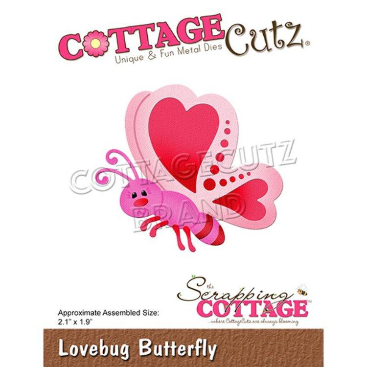 """Troquel """"Lovebug Butterfly""""  Troquel de diseño exclusivo de Cottage Cutz, de excelente aleaciónque garantiza su durabilidad, buen corte, perfecto embossado y libre de corrosión. Es compatible con todas las marcas conocidas de troqueladoras como: WeR, Sizzix ,Ellison , CuttleBug, SpellBinders entre otras.  Corta papel, cartulina , foami, tela ,paño lenci, láminas de aluminio.  Equipo Scrapyart"""