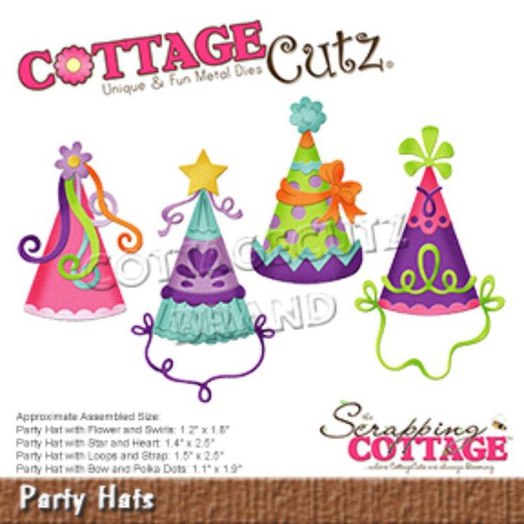 """Troquel """"Party Hats""""  Troquel de diseño exclusivo de Cottage Cutz, de excelente aleaciónque garantiza su durabilidad, buen corte, perfecto embossado y libre de corrosión. Es compatible con todas las marcas conocidas de troqueladoras como: WeR, Sizzix ,Ellison , CuttleBug, SpellBinders entre otras.  Corta papel, cartulina , foami, tela ,paño lenci, láminas de aluminio.  Equipo Scrapyart"""