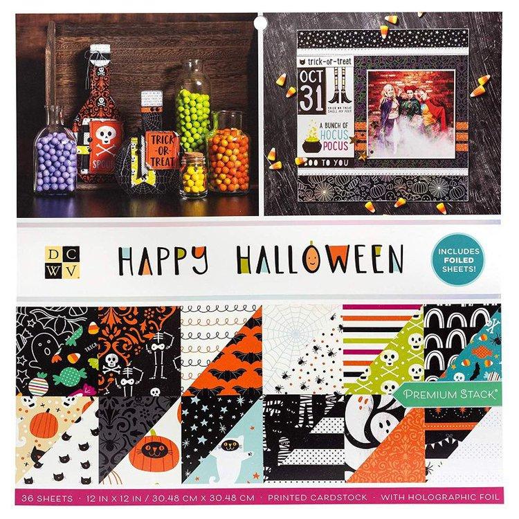 """Set de Blocks """" Happy Hallowen""""30x30cm  Cartulinas para scrapbooking diseñados por una marca exclusiva de stacks con 20 años de historia. Una colección con todos los elementos más representativos de Halloween. Incluye ilustraciones telas de araña, huesos, fantasmas, caramelos, calabazas, murciélagos, cruces, lunas y nubes, una variedad de ilustracionesque se combinan con ramas, rayas o lunares. La gama de colores combian los clasicos naranja y morados, con amarillos, marrones, negros, grises y rojos. Contiene 48 cartulinas decorados cartulinas libres de ácido"""