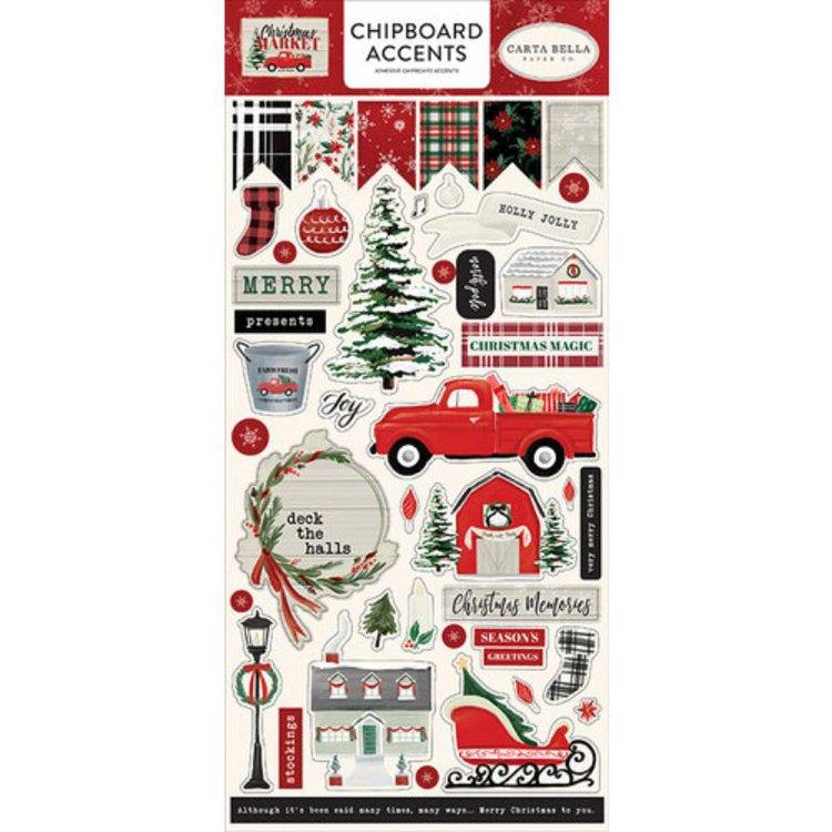 Chipboards adhesivos, coleccion navideña de Carta Bella especiales para aplicar y embellecertus proyectos de scrapbooking, tarjetería, cartonaje y otras manualidades.  Equipo Scrapyart