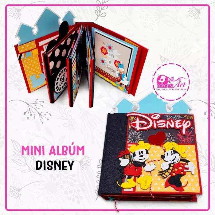 """Proyecto de Scrapbooking """"Mini Album Disney"""" hazlo tu mismo,incluye materiales yvideo para que lo realices en la comodidiad de su hogar.  Kit listo para envio. (incluye todos los materiales a usar para su elaboracion)  Leenseñamos el Paso a Paso con nuesraProf: Lucy Garcia Chavez).  Dimensión: 14x14.5cm.  Capacidad: 23 Fotos  Consulta: 982878609.  Equipo Scrapyart"""