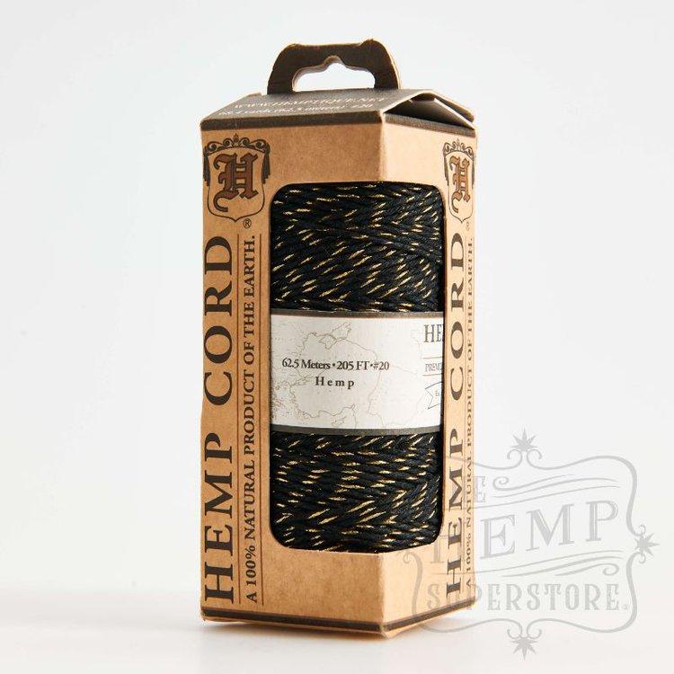Hilo de fibra natural de cañamo negro con dorado utilIzado en scrabooking, tarjetería,encuadernación y decoración en todo tipo de manualidades, es biodegradable de 1 mm. de espesor, 62.5mt.  Equipo Scrapyart