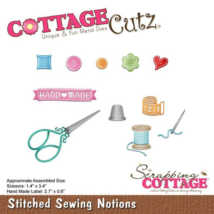 """Troquel """"Stitched Sewing notions""""  Troquel de diseño exclusivo de Cottage Cutz, de excelente aleaciónque garantiza su durabilidad, buen corte, perfecto embossado y libre de corrosión. Es compatible con todas las marcas conocidas de troqueladoras como: WeR, Sizzix ,Ellison , CuttleBug, SpellBinders entre otras.  Corta papel, cartulina , foami, tela ,paño lenci, láminas de aluminio.  Equipo Scrapyart"""