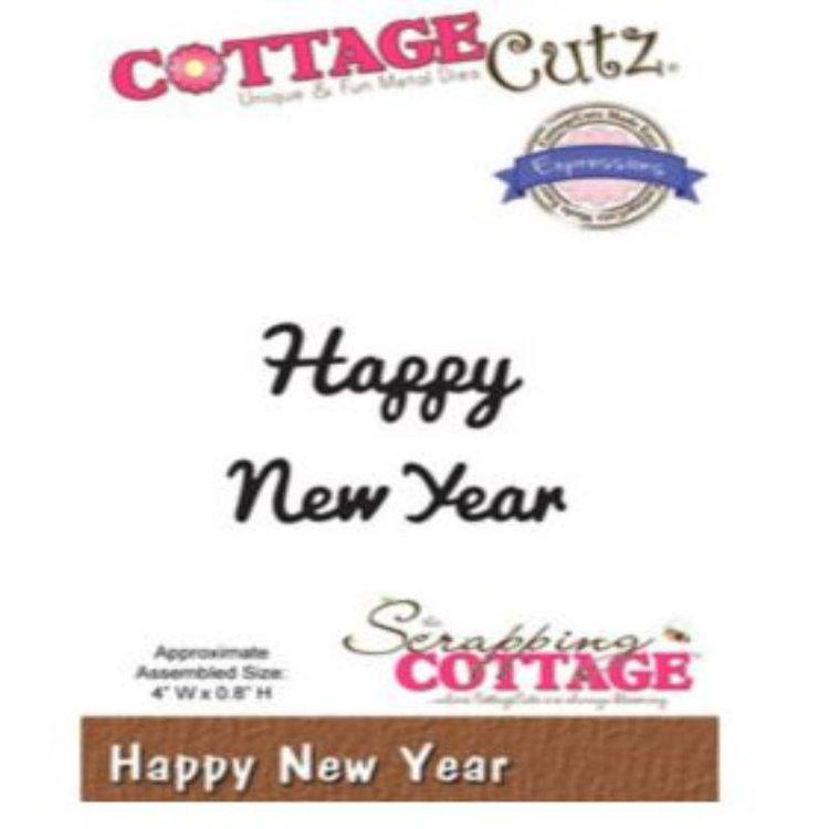 """Troquel """"Happy New year""""  Troquel de diseño exclusivo de Cottage Cutz, de excelente aleaciónque garantiza su durabilidad, buen corte, perfecto embossado y libre de corrosión. Es compatible con todas las marcas conocidas de troqueladoras como: WeR, Sizzix ,Ellison , CuttleBug, SpellBinders entre otras.  Corta papel, cartulina , foami, tela ,paño lenci, láminas de aluminio.  Equipo Scrapyart"""