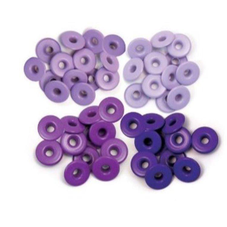 Wide Eyelets  Set de 40 Ojalillos anchos para embellecer y dar un mejor toque a tus creaciones, 10 de cada color. Ideal para tus proyectos de Scrapbooking y otras manualidades.  Puedes usarlo con la Crop-A-Dile y la Big Bite de We R Memory Keepers.  Diámetro interior 0.5cm.  Equipo Scrapyart