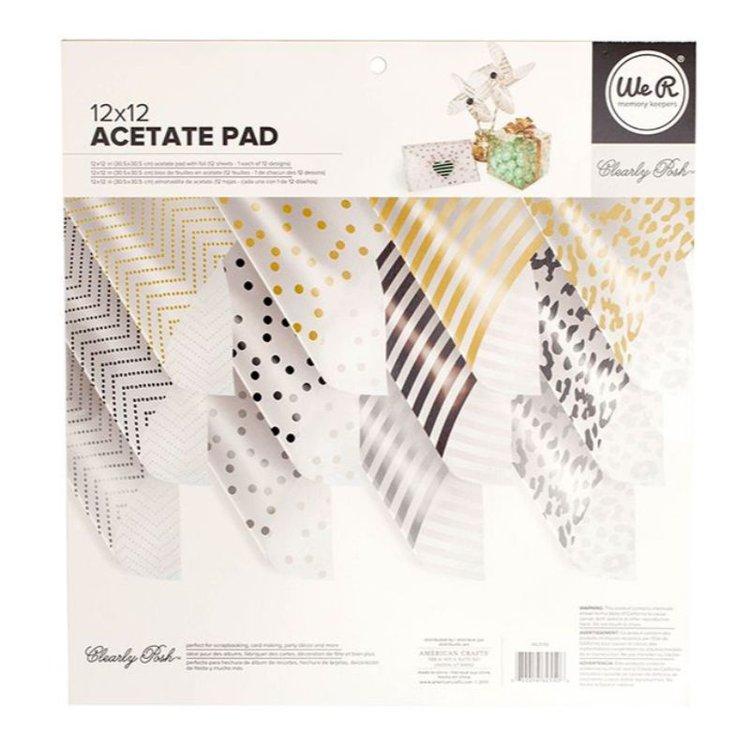 """Claramente elegante acetato (12 hojas) con papel de aluminio. Con estas grandes hojas puedes hacer grandes proyectos. Hay 3 colores diferentes de cada uno de los 4 diseños, por lo que si hace los cálculos tiene una docena de opciones únicas. (12) láminas de material de acetato dimensiones = 12 """"x 12"""" (12) diseños"""