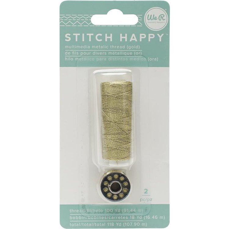 Hilo metálico de colo Dorado, incluye un carrete de hilo metálico. Sirve para la Stitch Happy y Stitch Happy Pen..  Longitud:  - Carrete: 91,44 m.  Equipo Scrapyart