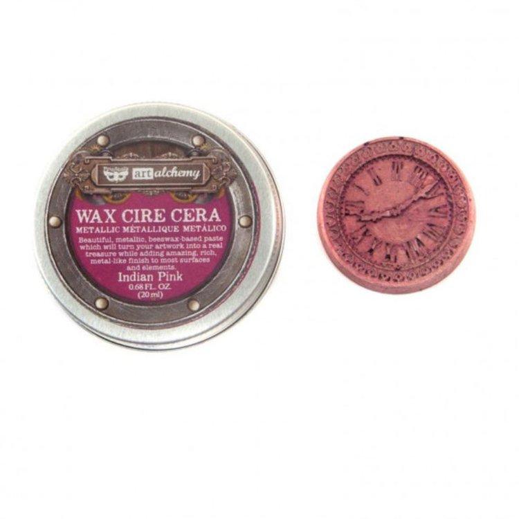 Patina Metalica - Indian Pink de Prima  Pasta wax metálica que le dará a tus proyectos un acabado metálico. Ideal para usar con la mayoría de las superficies como cartulina, madera, metales y otros elementos de mixed media.  contiene 0,68 oz .  Equipo Scrapyart
