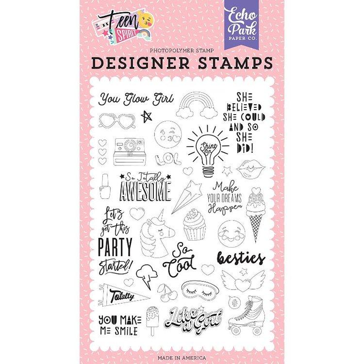 """Sellos """"You Glow Girl Stamp Set""""  Esta coleccionde sellos acrílicos de Echo park presenta imágenes y frases. Se requiere el uso de un bloque acrílico y tinta de estampado. Estos sellos transparentes de excelente calidad hacen que la colocación de la tinta en sus tarjetas sea perfecta, rápida y fácil."""