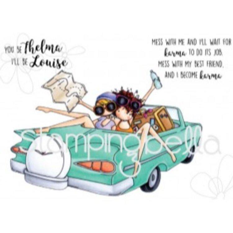 """Sello """"Thelma and Louise"""" de Stamping Bella  Sellos de caucho desmontados. ¡Los diseños adorables y el caucho de alta calidad hacen que estos sellos sean imprescindibles para cualquier estampador!. Especiales para todos tus proyectos de tarjetería, scrapbooking y otras manualidades.  Grupo Scrapyart"""
