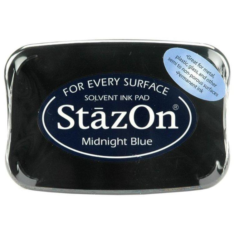 """Tinta ink Stazon """"Midnight Blue""""  Tintaespecialmente creadapara estapar en:Plásticos, metal, vidrio, cerámica, papel laminado, papel cuché y cuero. No recomendado para el tejido.  Equipo Scrapyart"""